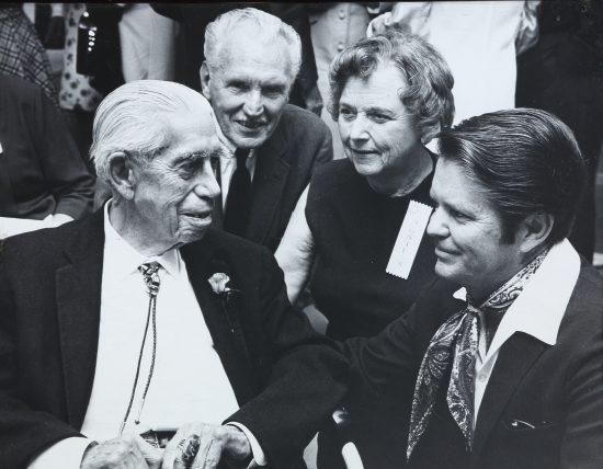 Jimmy Swinnerton with Alan and Lois Stoneman. To the right is Palm Springs Museum director Fred Sleight.