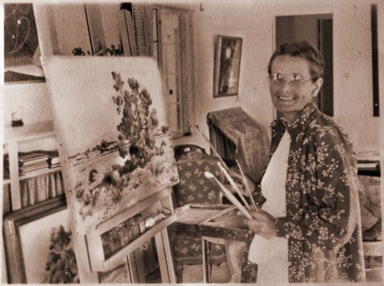 A rare image of Agnes Pelton smiling, in her Cathedral City home, courtesy of the Agnes Pelton Society