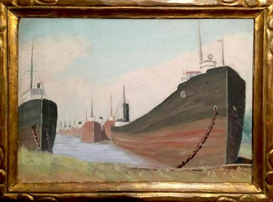 Arnold Krug, Great Lakes Transport Boats, 1934. Private Collection.