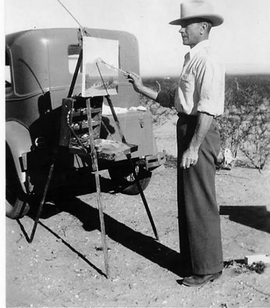 Arnold Krug painting al fresco in the Arizona desert, circa 1940.