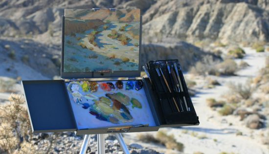 Bryan Mark taylor's painting on his Strada Easel. Taylor won First Place in Borrego last year.
