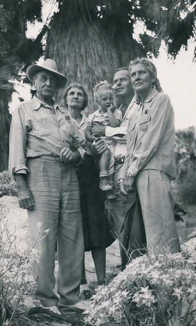 Burt Procter holding Ginny. Right, arts patron Christina Lillian. The man on the left looks like Carl Eytel.