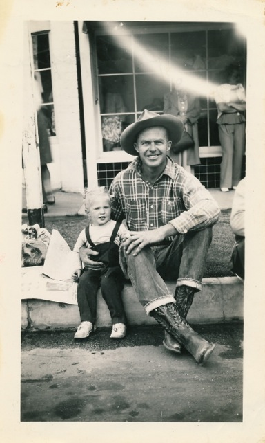 Burt Procter and 2-year-old daughter Ginny at a Palm Springs parade.
