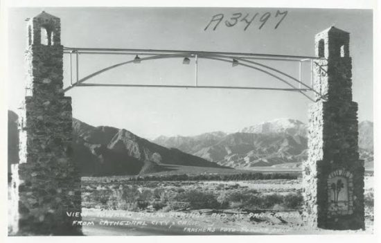 The landmark arch stood at the west entrance to Cathedral City, and appeared as a design in Agnes Pelton's work. Photos courtesy of the Cathedral City Historical Society.
