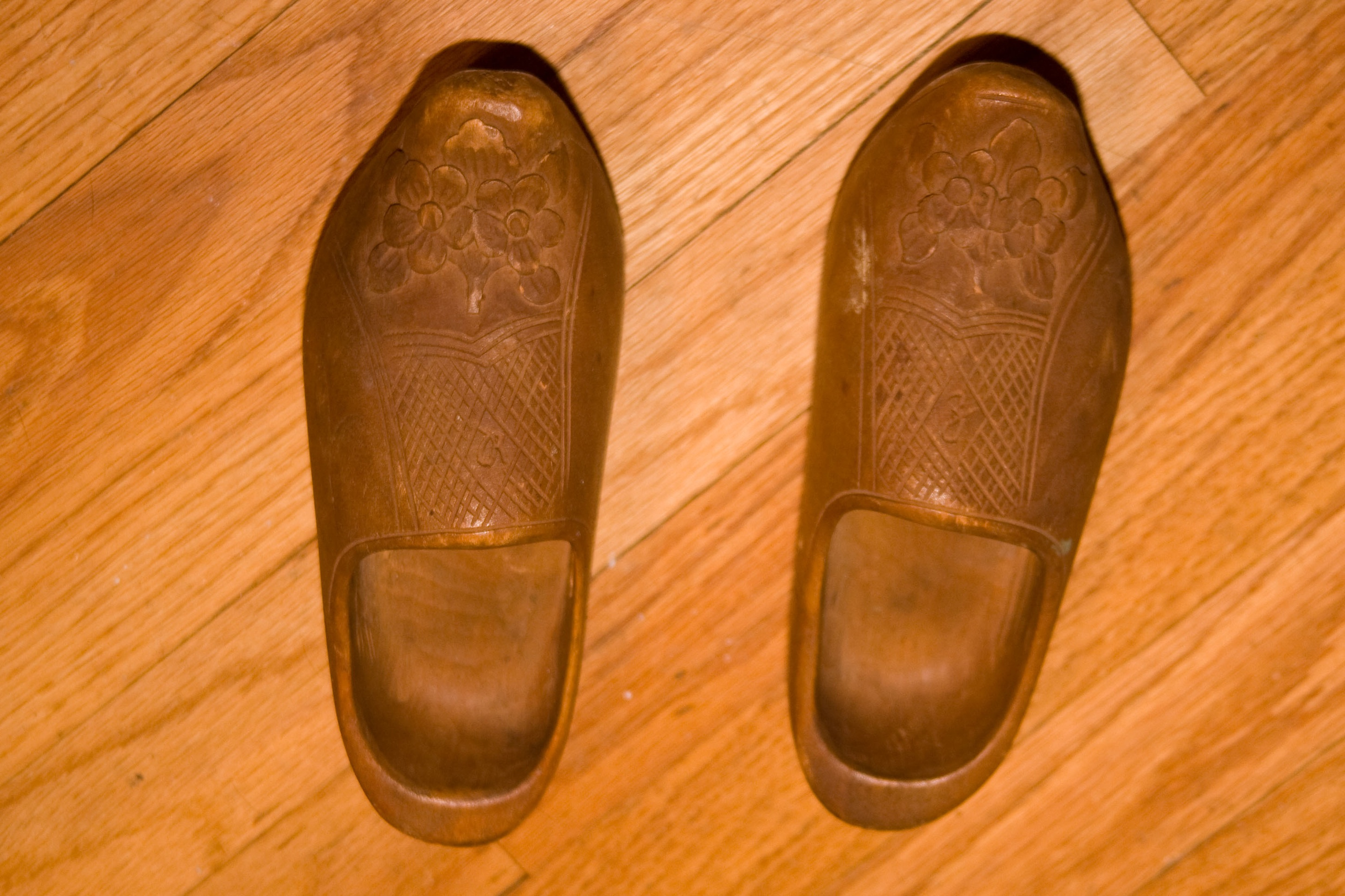 Carl Zimmerman carved these shoes for his granddaughter, Rita.