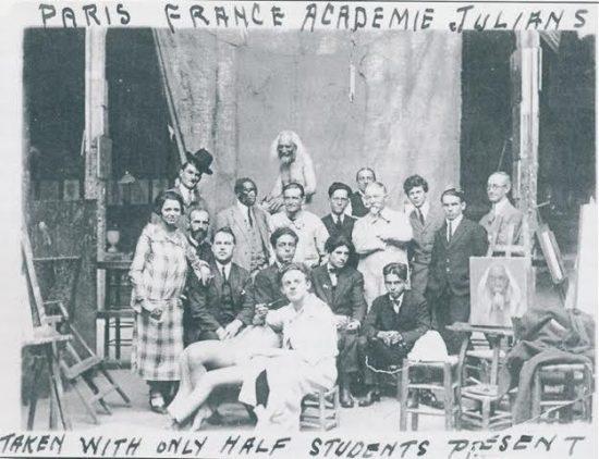 Cabot Yerxa's classmates at the Academie Julian. Courtesy of Cabot's Pueblo Museum.