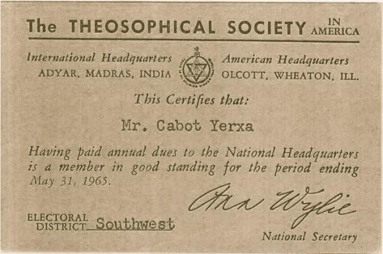 A membership card found in Cabot's wallet at the time of his death. Courtesy of Cabot's Pueblo Museum.
