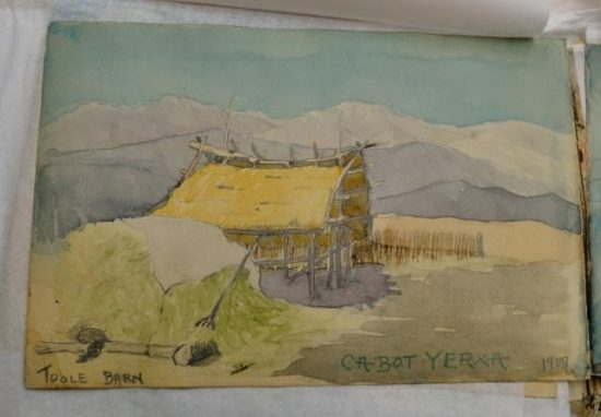 An early Desert Hot Springs ranch, from Cabot's sketchbook. Courtesy of Lauren Segawa, Cabot's Pueblo Museum, City of Desert Hot Springs.