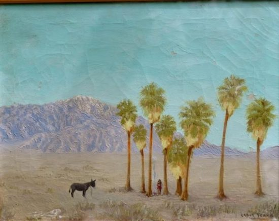Cabot's painting of Seven Palms oasis. (Note the eight palms) Courtesy of Cabot's Pueblo Museum.