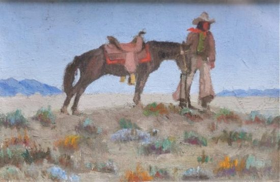 Cabot Yerxa, cowboy painting. Courtesy of Lauren Segawa, Cabot's Pueblo Museum, City of Desert Hot Springs.