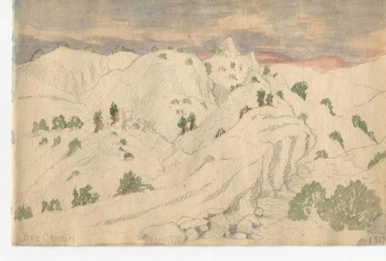 Cabot Yerxa's 1917 sketch. Courtesy of Lauren Segawa, Cabot's Pueblo Museum, City of Desert Hot Springs.