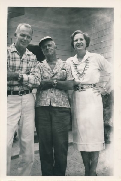 Cabot Yerxa, center, with Burt and Katherine Procter. Courtesy of Ginny Bohannan.