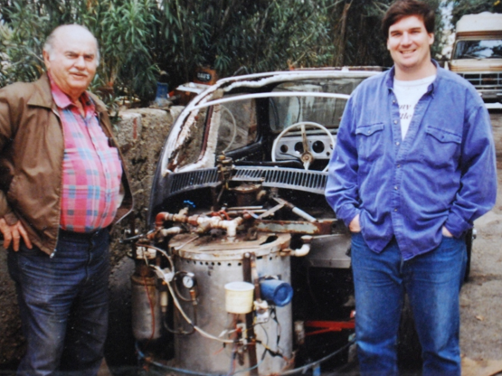 Carl and Pat Bray and Carl's steam-powered VW
