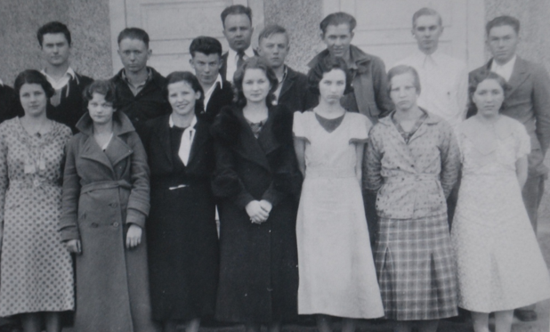 Colcord Oklahoma High School senior class of 1934. Carl is at top left.