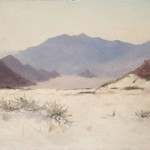 Lockwood de Forest, Mount San Jacinto from near Palm Springs, February 7, 1912 oil on artist's card stock, Collection of Palm Springs Art Museum, gift of Lisa de Forest through Sullivan Goss—An American Gallery