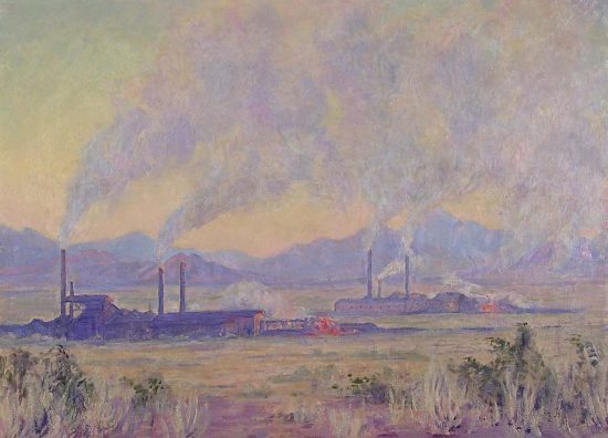 Effie's Douglas Smelters painting, after restoration work by Barry Bauman.