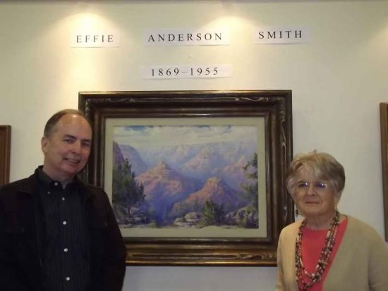 Steven Carlson with a former Effie student, Douglas mayor Elizabeth Williams Ames. The exhibit was an Arizona Centennial retrospective