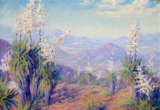 Effie Anderson Smith, yucca blooming above valley, 1936