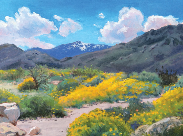 Elaien Mathews, Springtime in teh Desert, as featured in Southwest Art Magazine