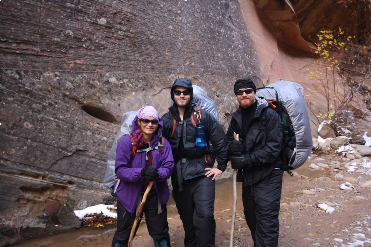 Erin Hanson on a trans-Zion trek with her brothers Kenny and Chris.