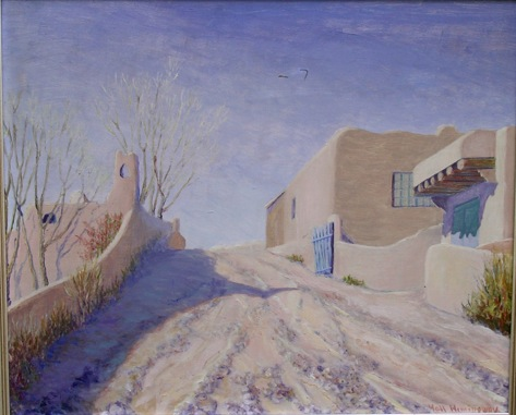 No people are shown in the Taos street but their activities are evident from the furrows in the dirt road and in the simple adobe buildings.  At first glance, you see only a picturesque country scene. Looking deeper, you can see poverty and a struggle to survive. In the beauty of the scene, Grace shows a dignity in that struggle just as Ernest showed a dignity in Santiago's poverty and his struggle to survive in The Old Man and the Sea