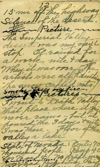 Grace Hall Hemingway's lecture notes from her 1936-37 Southwest trip.