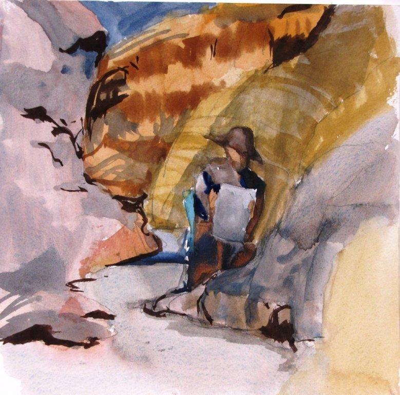 Jim Painting in Mosaic Canyon by Sharon Rawlins