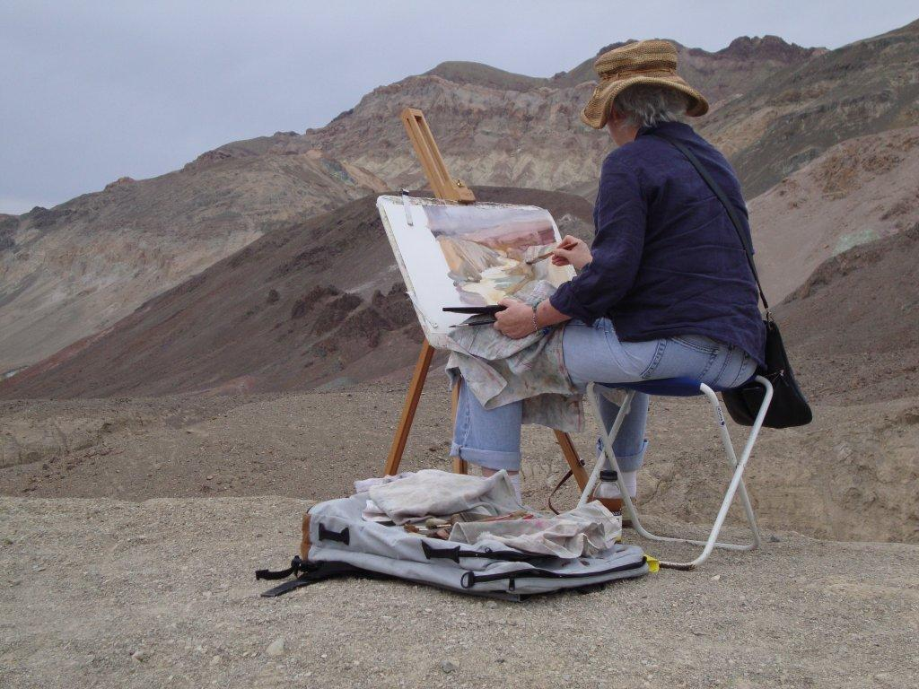 Costa Mesa artist Sharon Rawlins painting Artist Palette Canyon