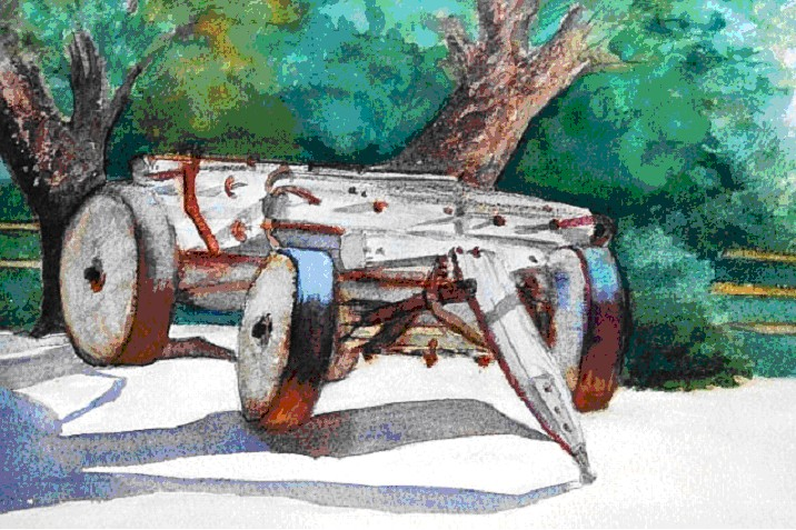 Artist Susan Ballou couldn't resist painting in the outdoor Borax Museum.