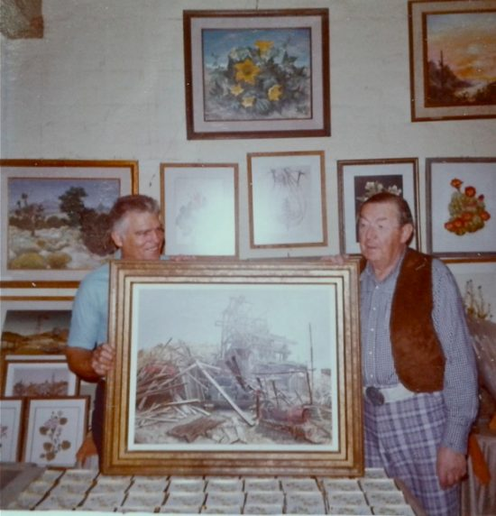 Bill Wilcox and Henry Mockel at Henry's Joshua Tree studio, 1970s