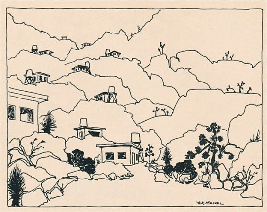 Henry Mockel sketch of desert homestead cabins