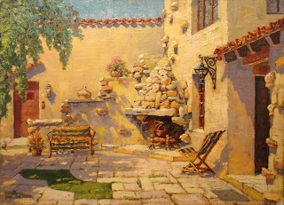 Paul Grimm painting of DeBrabant courtyard, owned by Noma Bruton