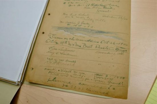 Cabot's guest book, with a drawing by Burt Procter. Courtesy of Cabot's Pueblo Museum.