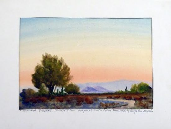 Arizona Desert Sunset, watercolor, 1948. Sliger collection.