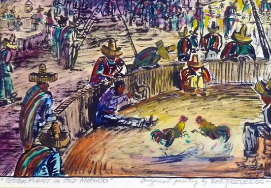 Cockfight in Old Mexico, watercolor. Sliger collection.